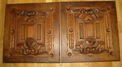 Excellent Pair of Original French Hand Carved  Oak Panels C1890's