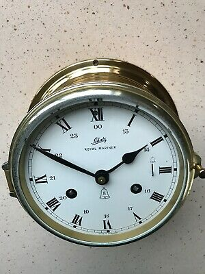 "Vintage Mid-Century Schatz Brass ""Royal Mariner"" Ships Clock 1960'S German Made"