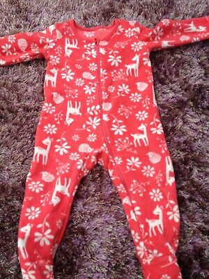 Girls 6-9 Fleece Warm Woodland All In One Sleepsuit