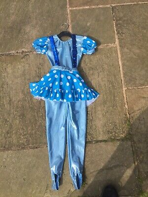 Age 4 To 5 Approx Cute Blue Lycra Girls Two Piece Gymn/dance/dress Up Outfit
