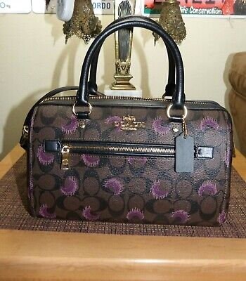 Coach Rowan Brown Purple Multi Moon Print Satchel Bag F 79947 NWT