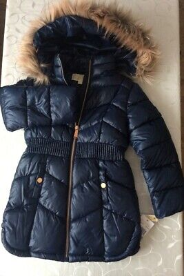 Michael Kors Girl's   Navy Hooded Quilted Zipped Jacket  (Size5-6 Years)