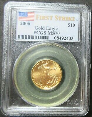 2006 First Strike American Eagle 1/4 Ounce Fine Gold Ten Dollar Coin Pcgs Ms 70