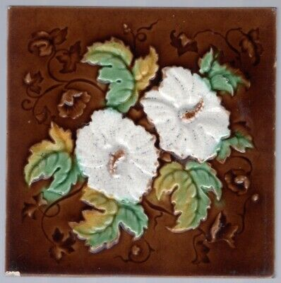 W & E Corn Bros - c1900 - White Hollyhocks Floral - Antique Victorian Art Tile