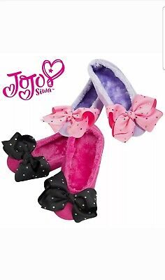 JOJO SIWA Kids Girls Novelty Warm Slippers Fluffy with a Sparkle Bow Ideal Gift