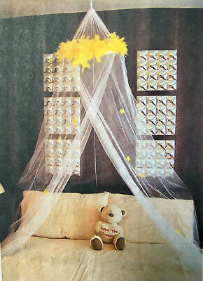 Bed Canopy Net for Children's Cots Cribs & Toddler Beds White & Yellow