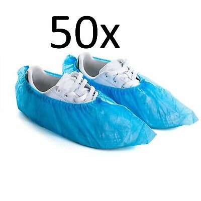 50 pcs Disposable Fabric Waterproof Blue Shoe Covers Overshoes Boot