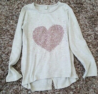TU Girls T Shirt Age 8 Grey with pink sequined heart