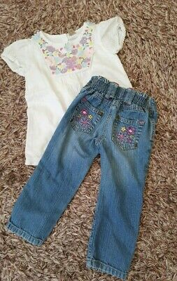Girls Jeans embroidered back pockets George & White embroidered top 2-3 years