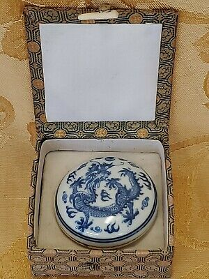 Chinese Blue & White Porcelain Scholar Ink Box Dragon Phoenix Antique Marked