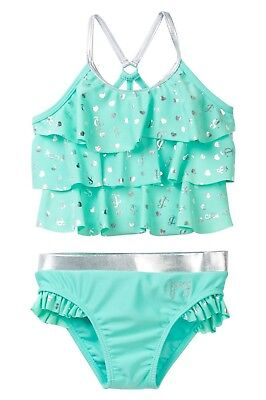NWT $70 JUICY COUTURE Big Girls 2 Piece Swimsuit Mint/Silver SELECT SIZE