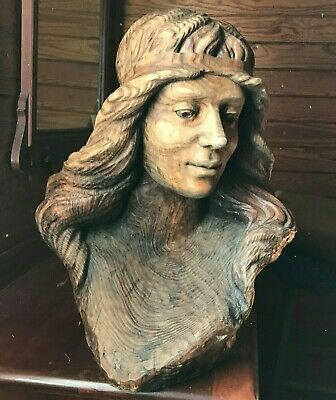 Wood Carved Bust Women's Head by M. Barradas
