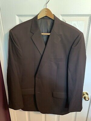 Joseph & Feiss Mens Size 48R Blazer Suit Jacket Sport Coat Solid Brown 100% Wool