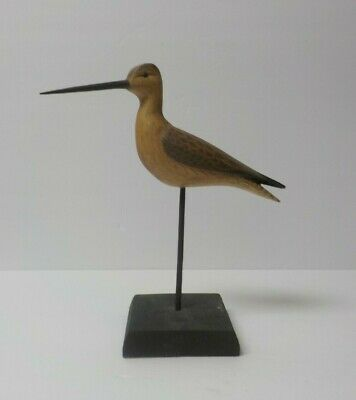 """Hand Carved & Painted 9"""" Shore Bird, signed WILLIAM JOHNSON (#7)"""