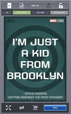 Topps Marvel Collect Card Trader MCU Quotes Series 1 Captain America Quote