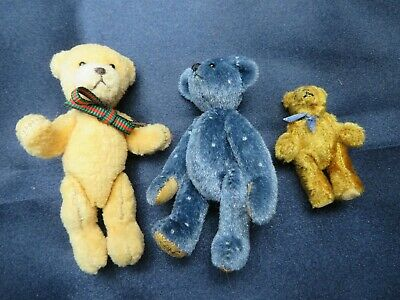 Set of 3 Vintage Fully Jointed Miniature Small Tiny Teddy Bears -Little Gem 2.5""