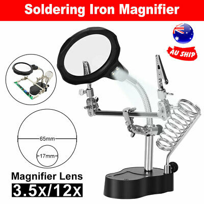 Solder Station Third Hand Soldering Iron Stand Holder Magnifier LED Helping Tool