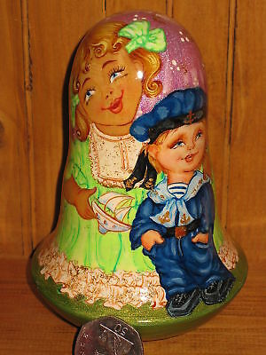 Wobbly Doll Russian Wooden Hand Painted GIRL Sailor Boy signed, with Bell Ring
