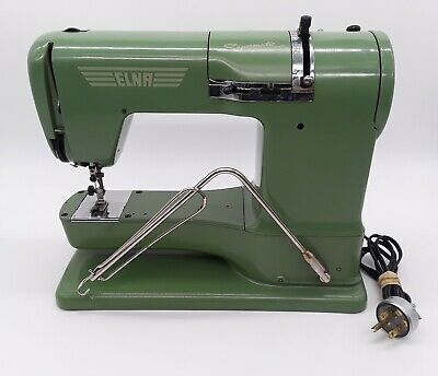 Vintage Swiss 1950's ELNA Supermatic Sewing Machine Case and Accessories *Clean*