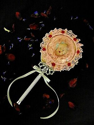 Vintage French Shabby Chic Hand Mirror with Domed Glass Beautiful Kewpie Mirror