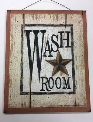 Wash Room barn star wooden hanging outhouse country bathroom theme sign rustic