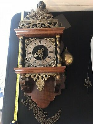 Antique French Wall Clock Wood And Brass
