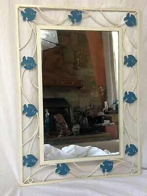French Vintage Industrial Iron Wall Hanging Home Mirror Blue Fish Motifs