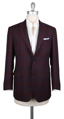 New $7200 Kiton Burgundy Red Cashmere Plaid Sportcoat - (KT1012172)