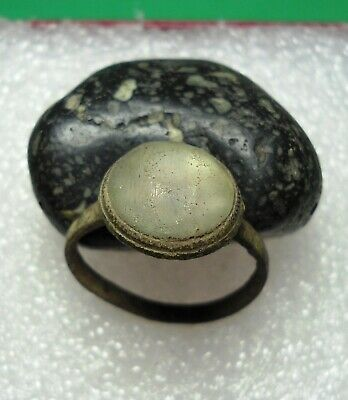 Ancient Roman Bronze Ring With Stone Original Authentic Antique Rare R868