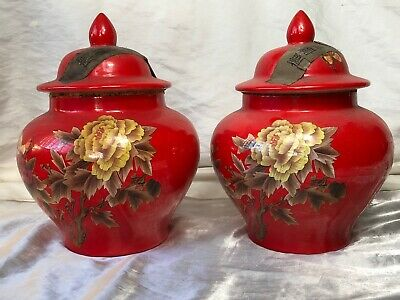 Pair Fine Antique 19th Century Late Qing Oriental Red Locust Butterfly Tea Vases