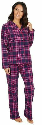 WOMENS SOFT TARTAN BRUSHED  MIRCO FLEECE  Button Through Pyjamas Pjs LADIES