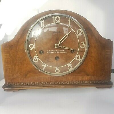 Walnut Westminster Chiming Mantel Clock E A Watch Company, Madras & Bangalalore
