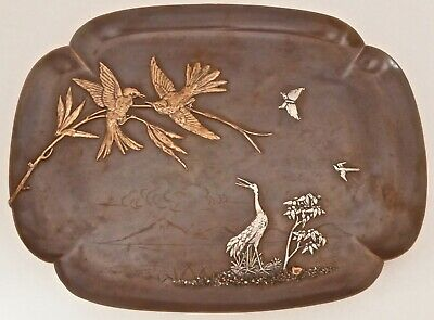 Rare Copper & Sterling Gorham Aesthetic Mixed Metals Tray Large Birds Heron 1881