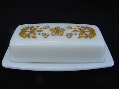 Vintage Pyrex Butterfly Gold ¼ lb. Rectangle Covered Butter Dish