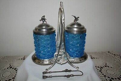 "Vintage 2 Jar Pickle Castor/Cruet with Tongs--""Meridan B. Company"""