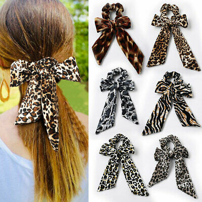 Leopard Knotted Velvet Scrunchies Streamers Bow Hair Rope Soft Hair Ties Bands