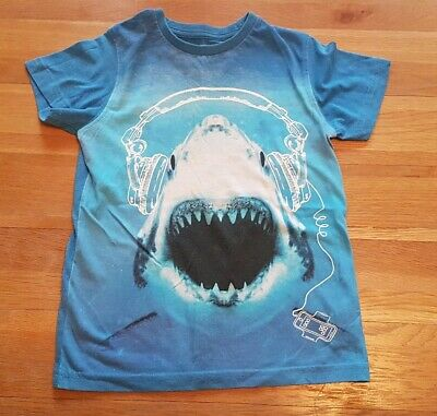 Boys blue jaws music shark headpohone tshirt age 6 top from next
