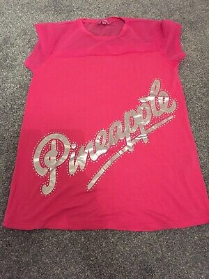 Girls Pink Pineapple Tshirt Age 12-13yrs Excellent Cindition Worn Once
