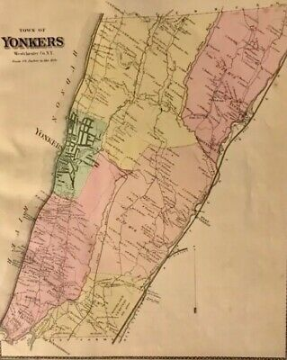 Town of Yonkers, Westchester County, NY 1867 Lithograph by F.W. Beers