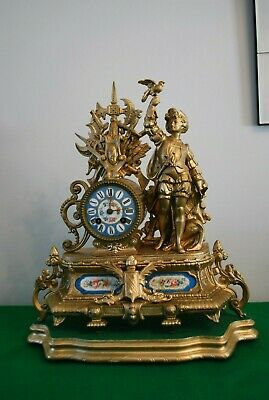 Antique Japy Freres Gilt Spelter Figural Mantle Clock