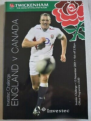 ENGLAND v CANADA 13TH NOVEMBER 2004 RUGBY PROGRAMME TWICKENHAM