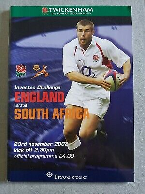 ENGLAND v SOUTH AFRICA 23RD NOVEMBER 2002 RUGBY PROGRAMME - TWICKENHAM