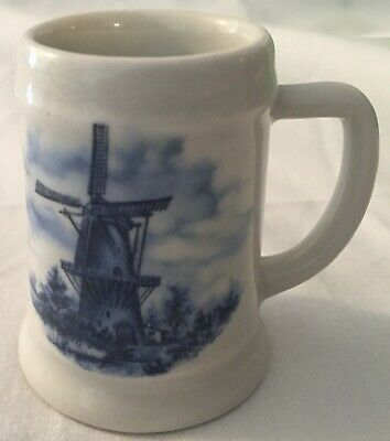 Ter Steege BV Delft-Blauw Hand-Painted White Mini Ceramic Beer Mug with Windmill