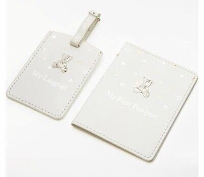 John Lewis & Partners Baby Linen My 1st Passport & Luggage Tag, Gold/Silver