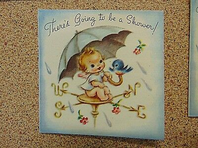 Absolutely Gorgeous Vintage 1950s Baby Shower Invitations Shabby Chic
