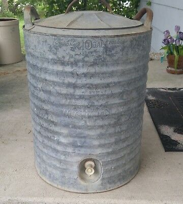 Vintage large galvanized metal old 10 industrial work water cooler planter table
