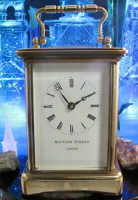 Matthew Norman carriage clock 110 x 75 brass beveld edge One Year Warranty Swiss