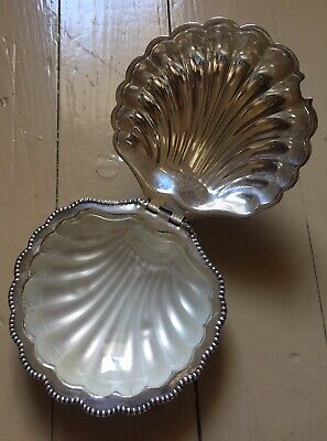 Silverplate Clam Shell Condiment Dish With Glass Insert