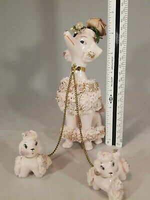 Large Spaghetti Poodle Dog Mother Chain Puppies Family Figurines Japan Vintage