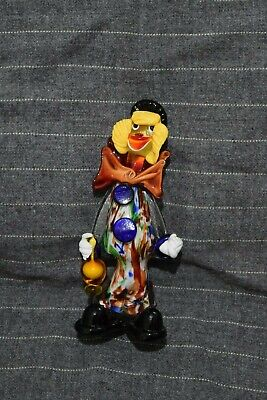 "Large Vintage Murano Glass Clown Holding a Bottle 10"" Tall Hand Blown Italian"